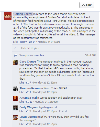 Golden Corral FB Reply