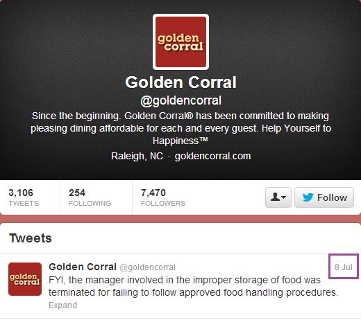 Golden Corral Twitter
