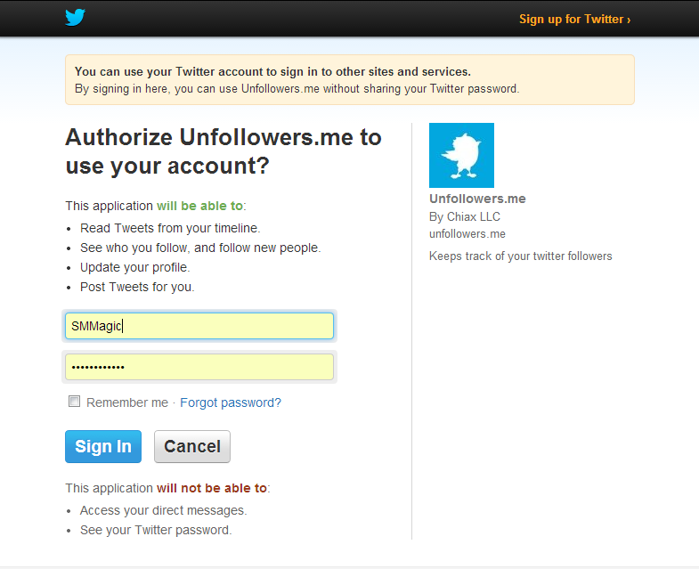 Unfollowers.me Signin