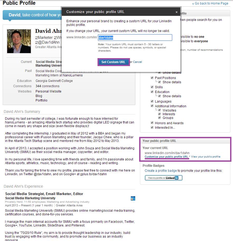 David Ahn LinkedIn Custom URL
