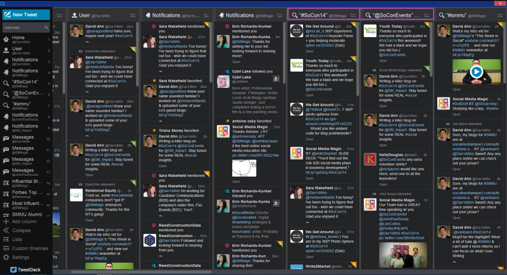 SoCon14 TweetDeck Columns