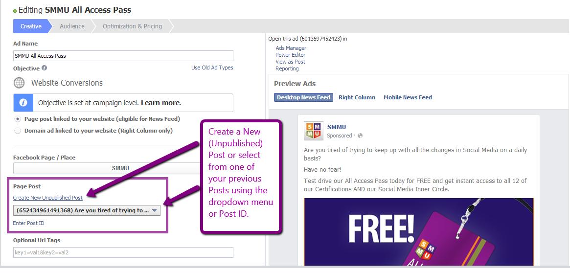 Facebook Ad Campaign Edit Creative