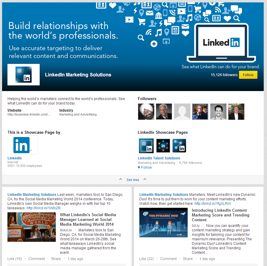 LinkedIn Love LinkedIn Marketing Solutions Showcase Page