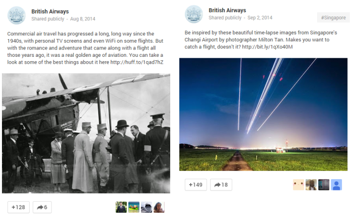 Google Plus British Airways