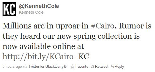 Kenneth Cole Tweet copy